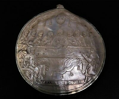 ANTIQUE CARVED MOTHER OF PEARL PLAQUE, THE LAST SUPPER, 19th CENTURY