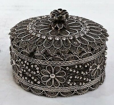 Antique Silver Filigree Circular Box And Cover, Lotus, India, Early 20C