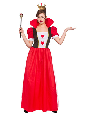 Womens Storybook Queen Of Hearts Alice Adult Fancy Dress Costume Book Day Outfit