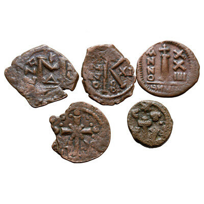 Lot Of 5 Uncertain Bronze Byzantine Coins