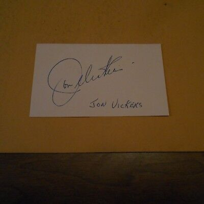 Jon Vickers, was a Canadian heldentenor  Hand Signed Index Card
