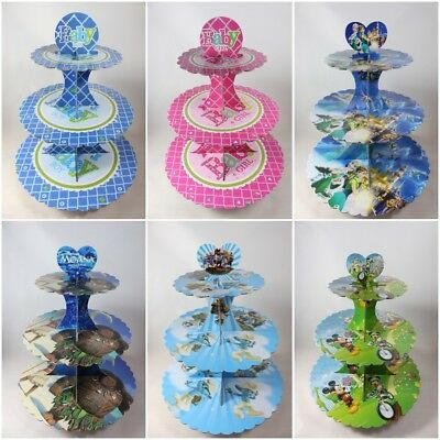 Kids Disney 3 Tier Party  Cupcake Stands Baby Boy/Girl/ Moana / Frozen /Smurfs