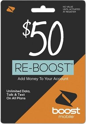 Read Description- Boost Mobile $50 Refill  card Credit applied DIRECTLY to PHONE