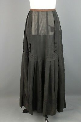 VTG Women's 1910s Teens Voile Black Cotton Linen Skirt #2008 Made in France