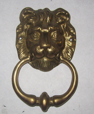 Brass Lion Head Vintage Door Knocker Striker Plate Drilled ready to hang Antique