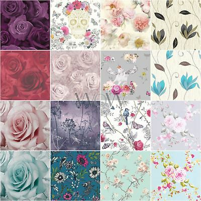 Floral Wallpaper Metallic Glitter - Flowers Roses Leaves Blooms Blossoms