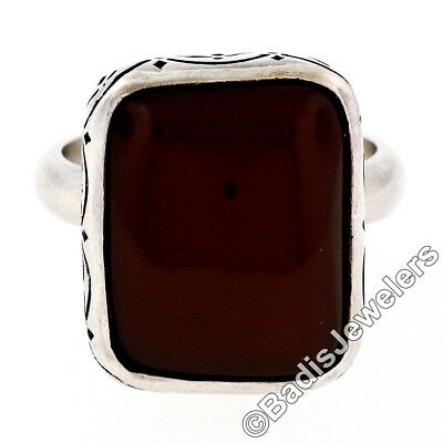 Vintage Hand Engraved .925 Silver Cushion Cabochon Cut Carnelian Solitaire Ring