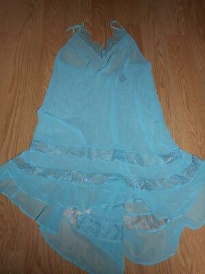 Victoria's Secret Very Sexy Size Small Sheer Blue Slip New!!!