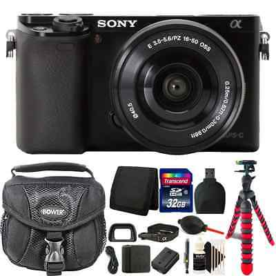 Sony Alpha a6000 24.3MP Black Digital Camera + 16-50mm Lens + 32GB Accessory Kit
