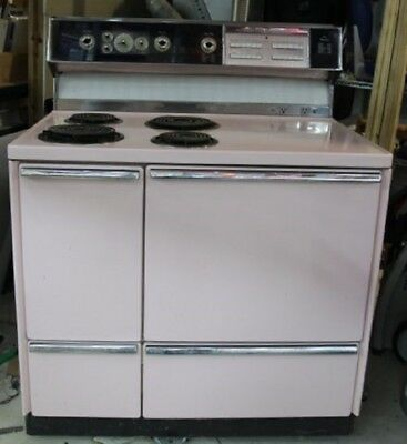 """PINK General Electric Vintage 40"""" Wide Stove Oven MCM 1962 - Great Shape"""