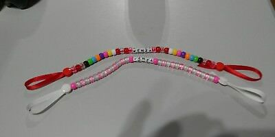NEW PERSONALISED Baby Girls / Boys Bling Soother Pacifier DUMMY HOLDER CLIP