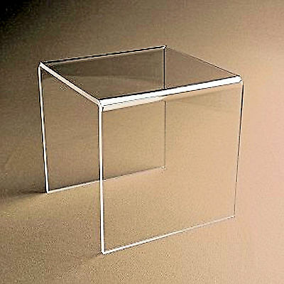 "3 Clear Acrylic / Plastic Risers Display Stand Pedestal 4"" X 4"" X 4"""