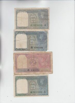 India Paper Money 4 notes low grade and up