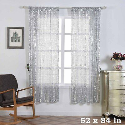 """2 pcs Silver 52"""" x 84"""" Sequined Window CURTAINS Drapes Panels Backdrop Home"""