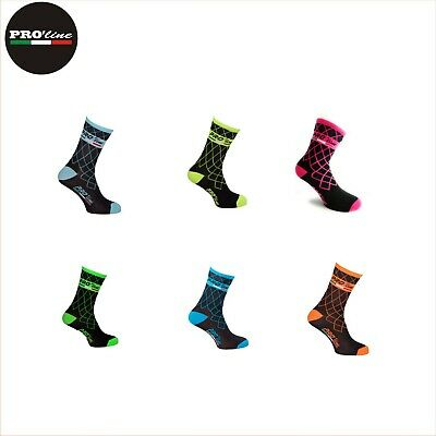 CALZINI CICLISMO PROLINE CROP CIRCLES GIALLOFL CYCLING SOCKS 1 PAIO ONE SIZE NEW
