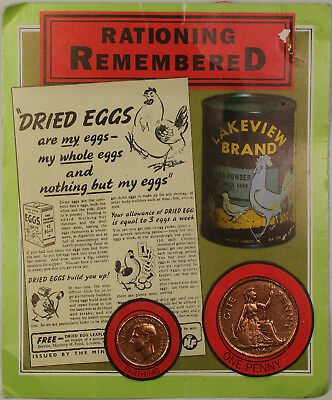 Rationing Remembered 1945 Farthing & Penny Set w Display Card Coinage