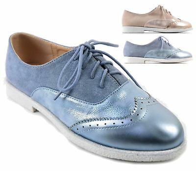 5eb39a2e9a565 Womens Flat Shoes Ladies Girls Lace Up Smart Office Vintage Brogue Shoes  Size