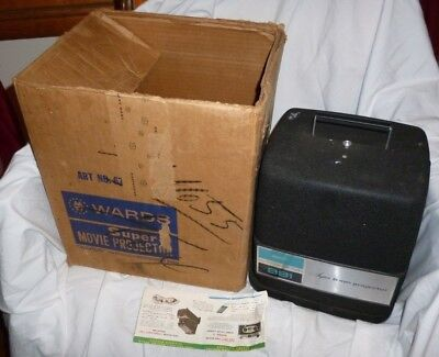 Vintage Wards 881 Super 8 mm Projector IN Original Box Works but needs new bulb