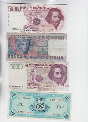 Italy Paper Money 4 old notes low grade up to ef