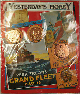 Yesterday's Money 1928-1944 Half Penny Pence & Penny Set w Display Card