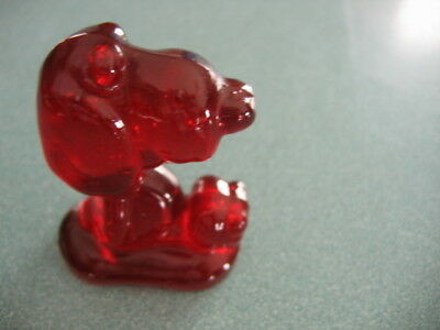 Vintage Glass Snoopy Figurine Marked BR Red