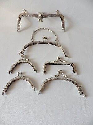 Silvertone Metal Frame Bag Purse Sew In / Glue In Frame : 6 designs