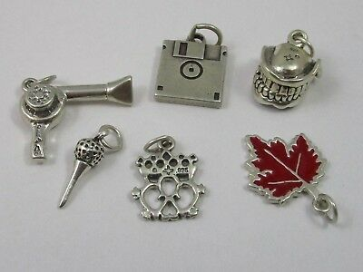 Charms Vintage Sterling Silver - Lot of 6 - Mixed Theme 16.2 G