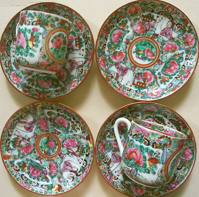 Rose Medallion Demitasse Cups and Saucers from Hong Kong