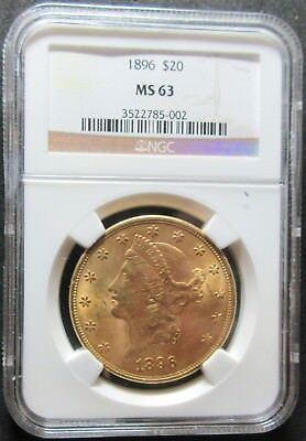 1896 $20 Liberty Double Eagle .96750 Ounce Gold Coin - Ngc Ms 63