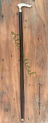 Walking Stick with Victorian Brass Handle Fancy Dress Cane two fold