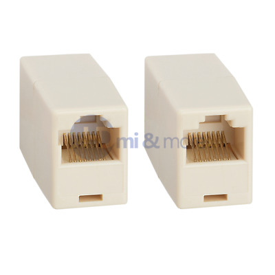 Cat5e RJ45 Inline Ethernet Network Patch Cable Coupler, 8P8C Straight - LOT of 2