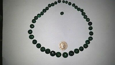 vintage / antique green  beads , hand carved