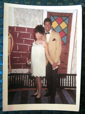 1969 African American PROM Couple in COLOR Original Photo