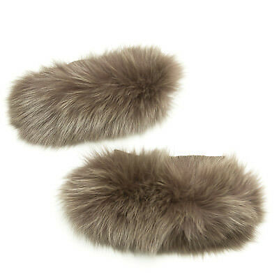 MAX MARA Women's Susanna Turtledove Fox Fur Cube Collection Cuffs OS $425 NWT