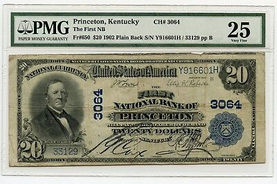 1902 $20 (Fr#650) (Plain Back) Princeton, Kentucky National Note. VF 25 PMG