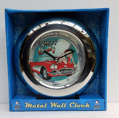 Betty Boop Chevy Corvette Betty Collector Metal Wall Clock,vandor Co.item 10889