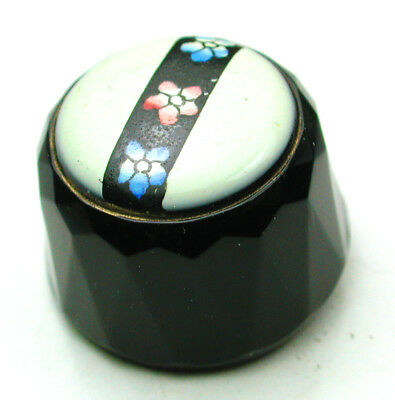 Antique Black Glass Button Faceted Black w/ Panted Flowers on Cream Top - 11/16""