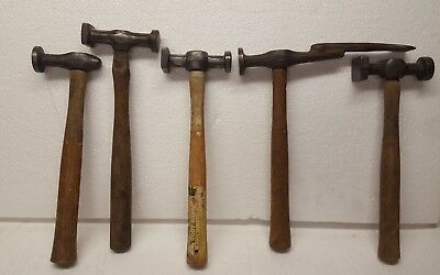 Lot Of 5 Vintage Auto Body , Blacksmith , Tinsmith Hammers