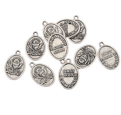 ANTIQUE SILVER CHARM. A231 FIRST COMMUNION CHARM x 5 HEART PENDANT