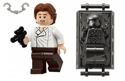 Lego Star Wars Minifigure Han Solo With Blaster Cuffs & Carbonite 75137  75174