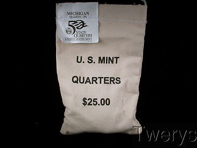 Us Mint Sewn Bag 2004-P Michigan State Quarters 100 Coins $25 Face Value