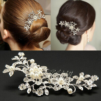 Flower Wedding Hair Pins Bridesmaid Crystal Diamante Pearls Bridal Clips Comb UK
