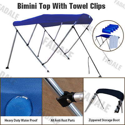 3 Bow Boat Bimini Top Canopy Cover Free Clips 6 ft 73''-78'' Sun Shade PB3N3