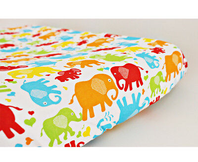 GOOSEBERRY Fitted Change Table Mat Pad Cover Cotton Elephants