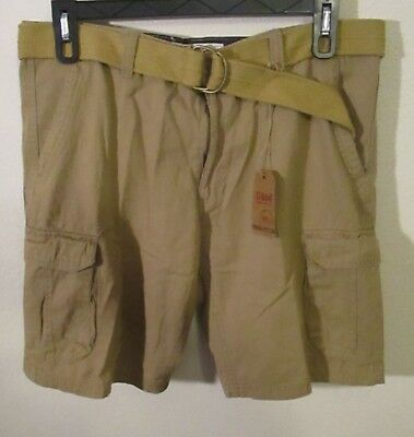 NWT G&M Rugged & Washed Out Mens Norfolk Twill Belted Cargo Shorts 38 Camel $40