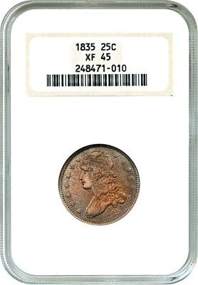 1835 25c NGC XF45 (OH) Attractive Type Coin - Bust Quarter