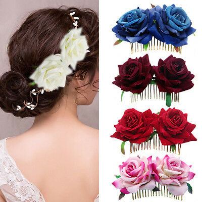 CO_ Bridal Boho Rose Flower Hair Comb Clip Hairpin Wedding Party Hair Accessory