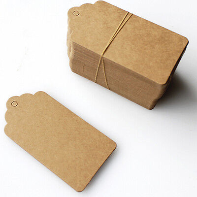 100pcs 45*95mm Kraft Paper Gift Tags Wedding Scallop Label Blank Luggage Tag BL