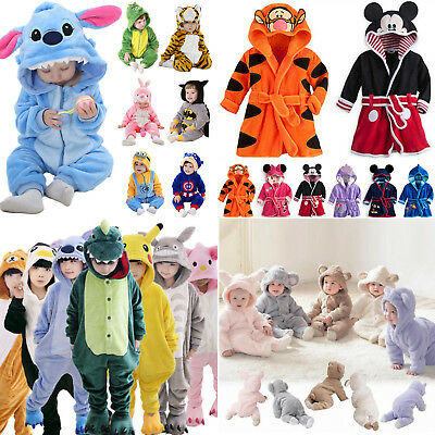 Kids Baby Animal Kigurumi Bath Robe Hooded Pajamas Sleepwear Cosplay Costumes