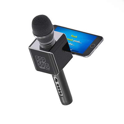 PopSolo Bluetooth Karaoke Microphone and Speaker With Retractable Smartphone Hol